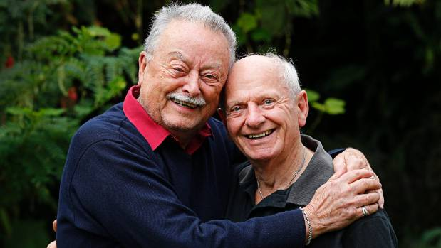 John Jolliff, left, and Des Smith were the first gay couple in New Zealand to get a civil union. Jolliff said he did not ...