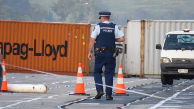 Police at Port Chalmers after a cruise ship worker Allan Allarde Navales was killed.