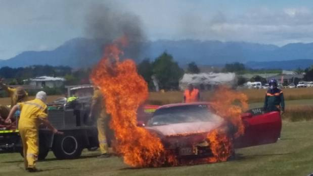 JANUARY 7: The action gets too hot for one of the entrants at the Motueka Dragway meeting, with an engine fire causing ...