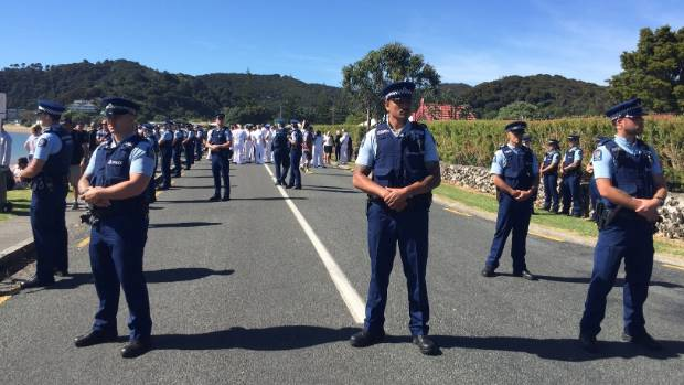 FEBRUARY 4: It wouldn't be Waitangi without police squaring up against protesters. All we need now are some jandals and ...
