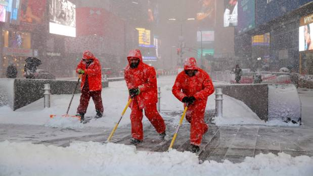 Snowstorm Niko sweeps through Times Square in New York City
