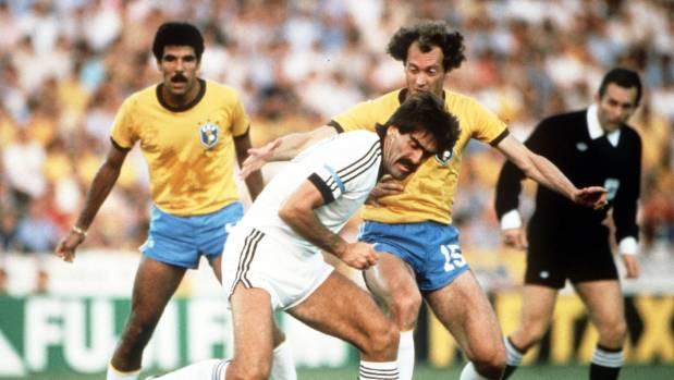 Steve Sumner playing against Brazil in 1982.