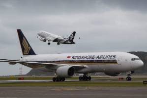 Singapore Airlines' inaugural flight from Singapore and Canberra touched down in Wellington in September.