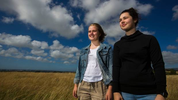 Sky high environmental thinkers, left, Tessa Hiscox, right Stephanie Kelly, both year 13.