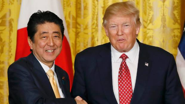 US President Donald Trump (right) made the comments while at a press conference with Japanese Prime Minister Shinzo Abe.