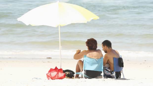 Visitors at Lady Robinsons Beach at Botany Bay.