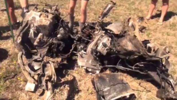 The wreckage of Duncan Heyde's car after 55kg of explosives had done their work.