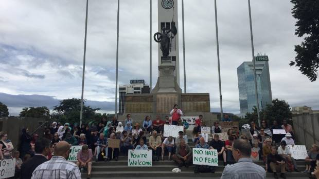 A rally to welcome Muslims in New Zealand was held in The Square in Palmerston North.