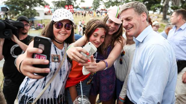 Prime Minister Bill English walked around at the Big Gay Out but did not get up on stage.
