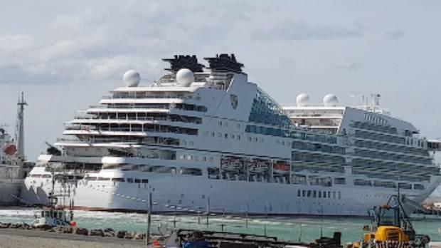 Seabourn Encore berthed in Timaru.