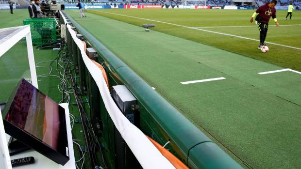 A view of a part of the video refereeing system before a match at the Club World Cup in Japan last year.