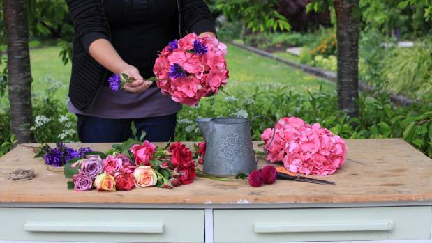 Vintage posy step 2: Use the hydrangea as a base for the other flowers.