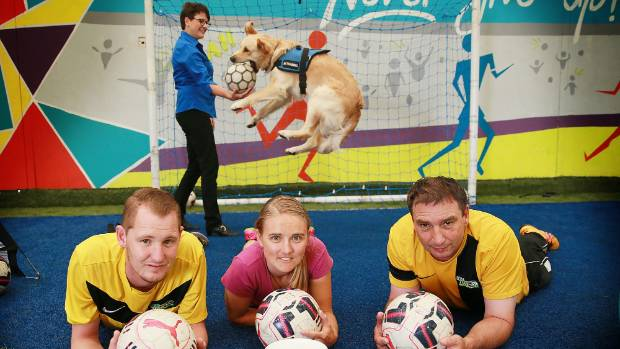 Star Turf organised a full day of football to fundraise for Assistance Dogs New Zealand. (Front): Lee Massey, Samantha ...