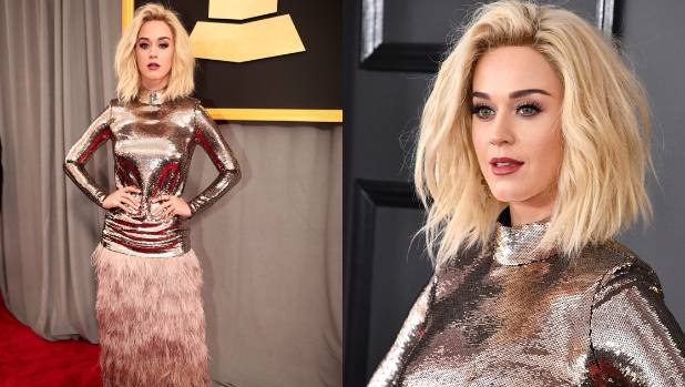 Katy Perry Gets Political With 'Persist' Armband And Pantsuit At Grammys