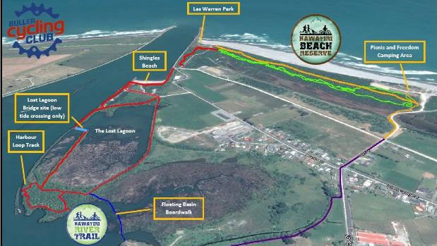 Map of the Kawatiri River Trail and Kawatiri Beach Reserve.