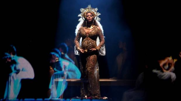 Recording artist Beyonce performs onstage during The 59th GRAMMY Award in Los Angeles, California.