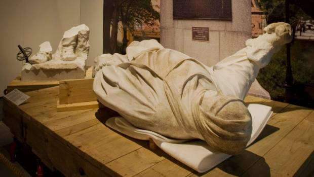 The earthquake-damaged Scott statue has been on display at Scott's Last Expedition at Canterbury Museum.