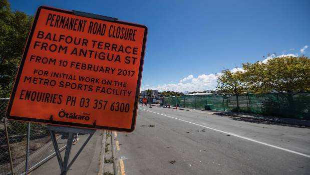 Horatio St and the bulk of Balfour Tce have been permanently closed so work can continue on Christchurch's metro sports ...