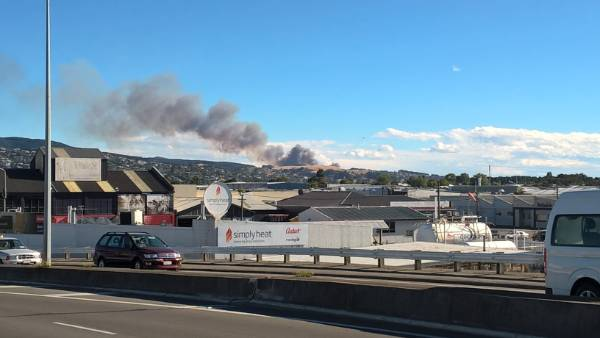 The fire can be seen from central Christchurch.