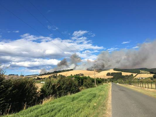 Fire burning on the Port Hills in southwest Christchurch.