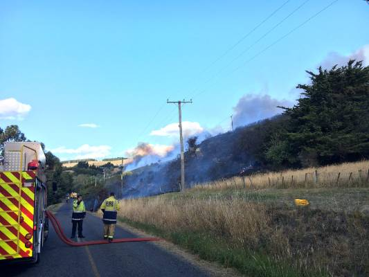 Firefighters battling the blaze.