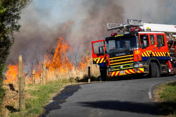 A fire burns on the Port Hills, near Kennedy's Bush, south of Christchurch.