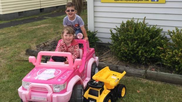 Nathan Hayward and Sophia Austin-Lincoln try out some of the toys at the Upper Hutt Toy Library.