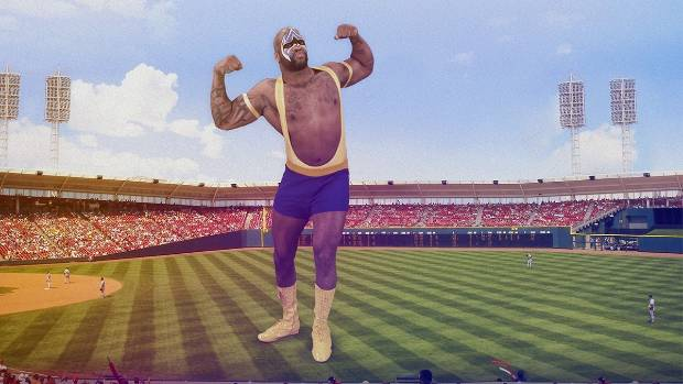 A wrestler hologram on a baseball field. This was created through 8i's new Holo app.