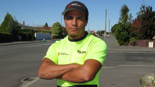 Alex So'oialo gave chase armed with a swing-ball pole after offenders smashed a neighbour's car windscreen.