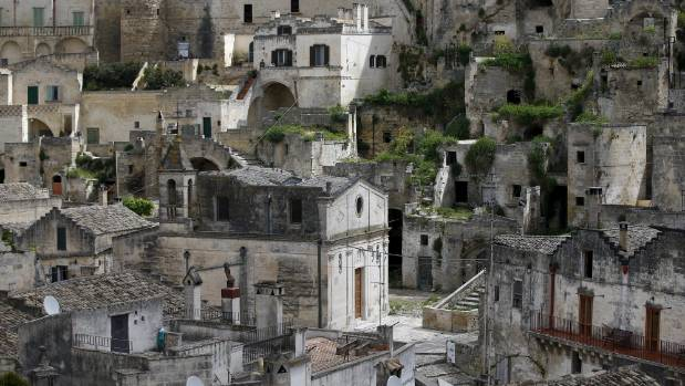 Matera's Sassi limestone cave dwellings in southern Italy.