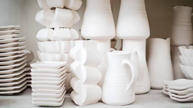 The tableware is made from a porcelain clay body.