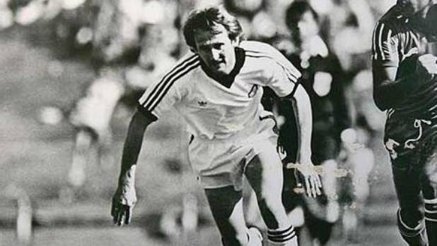 John Hill playing for New Zealand against Kuwait during a World Cup Qualifier in 1981.