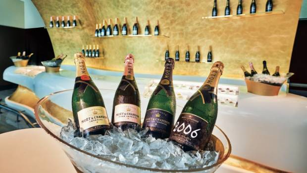 There's no shortage of champagne at Emirates facility in Concourse B at Dubai International Airport.