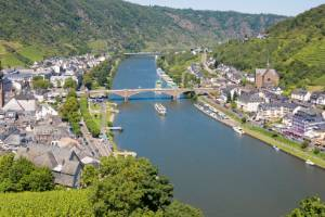 An aerial view at Cochem and river Moselle in Germany. FFX-travel