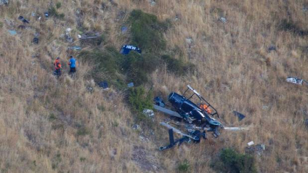 The fatal helicopter crash on the Lyttelton side of the Port Hills.