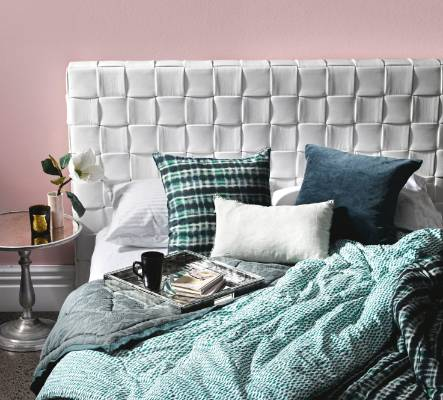 Teals & greens are the perfect complementary colours for this woven  headboard and Genevieve side table from Sarsfield ...