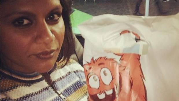 Mindy Kaling enjoys a bag of Cookie Time goodies in Queenstown.