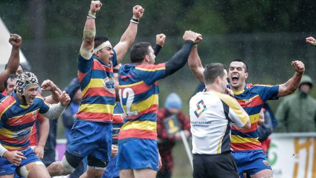 Tawa premier rugby players celebrate winning the Jubilee Cup at Porirua Park last August.