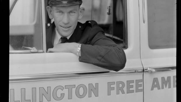 Ray Hunt, former driver for Wellington Free Ambulance. From negatives of the Evening Post newspaper, 1956.