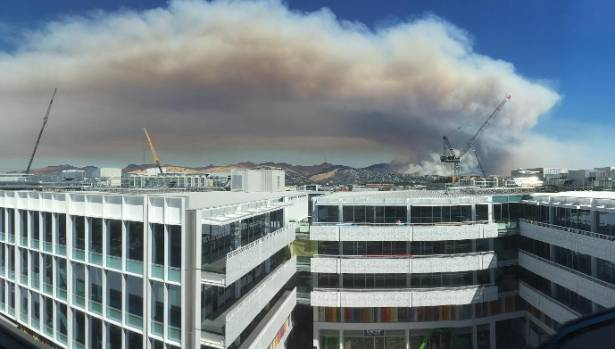 A view of the Christchurch fires from the top of the BNZ centre in the central city.
