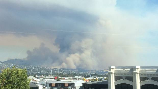 A view of the fires taken from the new Vodafone building in Tuam street, Christchurch.
