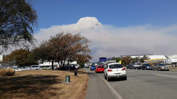Smoke from the Christchurch fires from the corner of Shands Rd and Edmonton Rd.