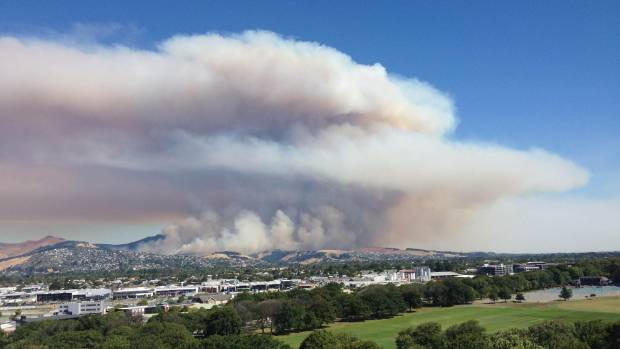 Smoke from the Christchurch fires rises over the city.