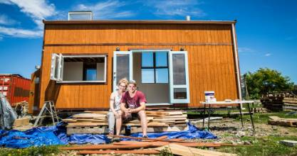 Anna Naygrow and Christoph Riedel plan to spend two nights towing the tiny house they built this summer to Christchurch ...