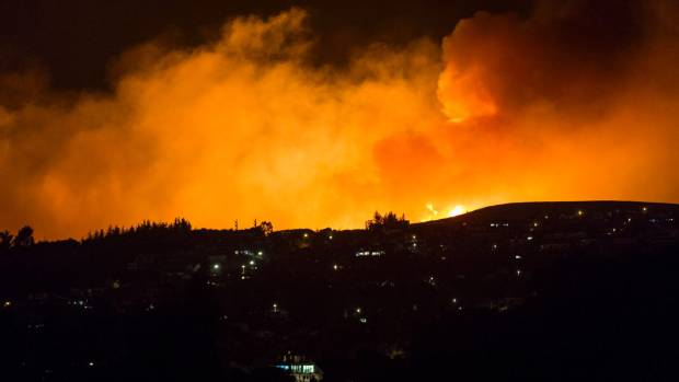 The Port Hills fire at midnight on Thursday.