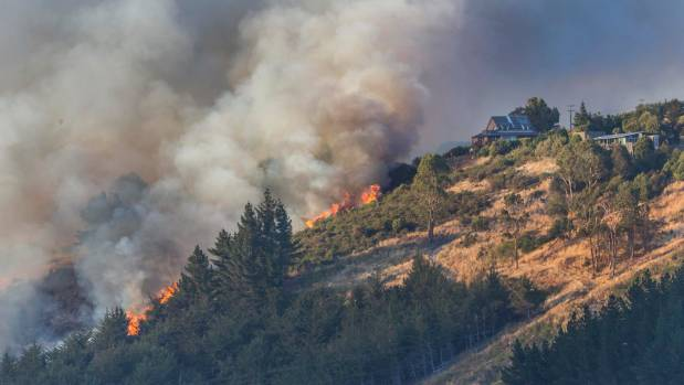The Port Hills fire burned on Worsleys Spur.