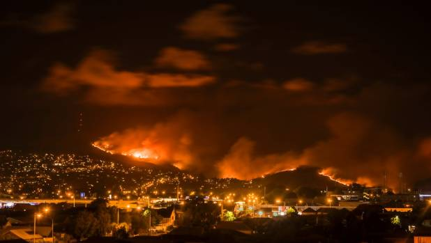 The sky above Christchurch glowed orange on Wednesday night as the Port Hills blaze burned.