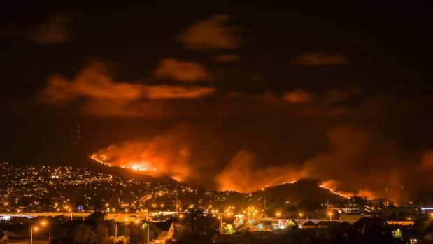 The sky above Christchurch glowed orange on Wednesday night as the Port Hills blaze burned.