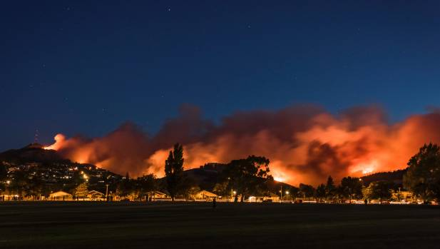 Smoke billowed across the Port Hills on Wednesday night.