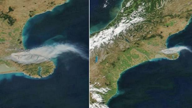 Satellite imagery revealed the extent of the smoke billowing from the Port Hills fire.